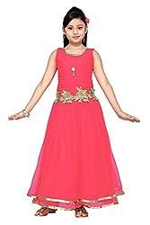 Aarika Girl's Self Design Party Wear Net Gown (767-GAJRI_40_15-16 Years)