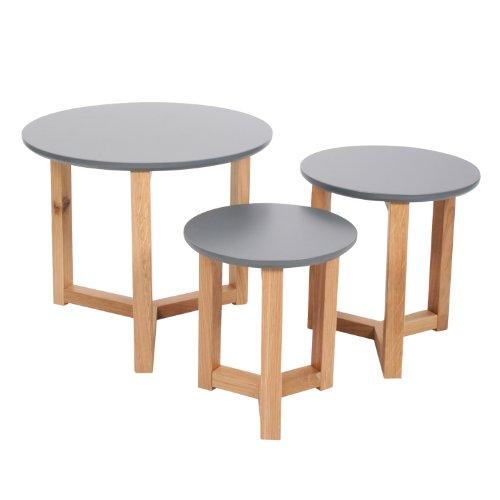 3er Set Design Beistelltisch aus hochwertigem Holz - grau lackiert
