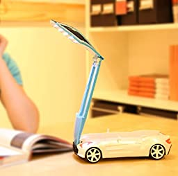 WAYCOM Foldable Car Shaped Eye-care Rechargeable Warm White LED Reading Lamp/ Task Light/ Children Bedroom Light/USB Nightlight,Perfect Gift for Children (Blue)
