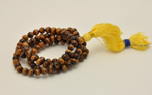 Tiger Eye Mala 108 Beads on Unknotted String