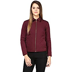 Quilted Women's Jacket In Brown Color With Front Zipper