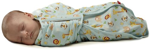 Fisher-Price Swaddlecinch Jungle Print Blanket, Blue, Large front-1007188