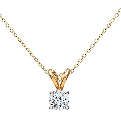 Ariel 9ct White Gold Ladies 0.25ct Single Stone Diamond Pendant + 46cm White Gold Trace Chain