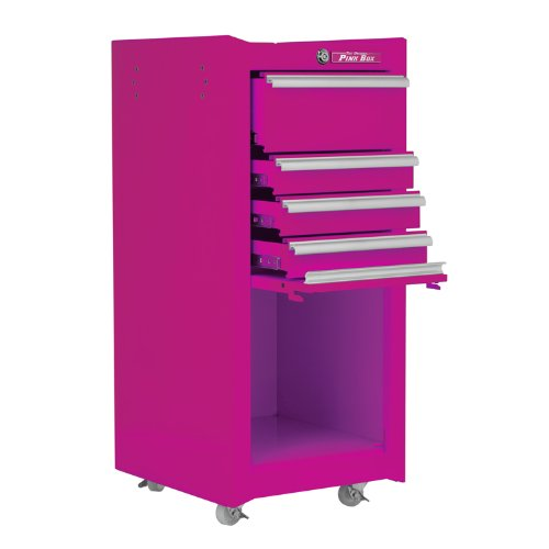 The Original Pink Box Pb1804R 18-Inch 4-Drawer 18G Steel Rolling Tool/Salon Cart, Pink front-95915