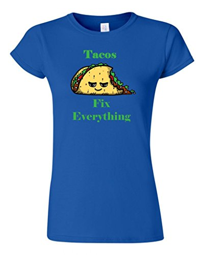 Junior Tacos Fix Everything DT Novelty T-Shirt Tee (XXX Large, Royal Blue) (Royal Cook Tortilla compare prices)