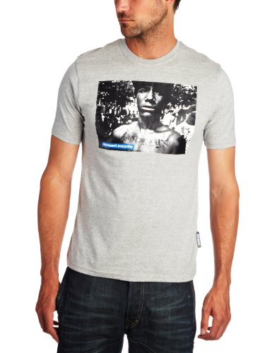 Two Angle Crook Printed Men's T-Shirt Grey Large