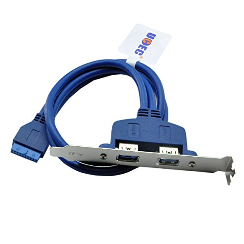 UCEC Two Port USB 3.0 Slot Plate Adapter Bracket Cable with Built-In 20-Pin Header F/2AF PCI (Usb Pci Bracket compare prices)
