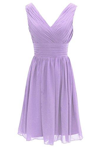 Ouman Short Bridesmaid Dress Chiffon Party Evening Dress Medium Lavender