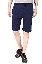 Aventura Outfitters Single Jersey Shorts Navy Blue with Two Sky Blue Stripes - XL (AOSJSH305-XL)