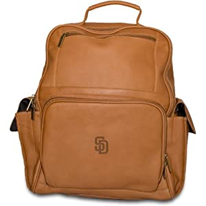 MLB San Diego Padres Tan Leather Large Computer Backpack by Pangea Brands