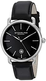 Stuhrling Original Symphony Ascot Agent Men's Quartz Watch with Black Dial Analogue Display and Black Leather Strap 768.02