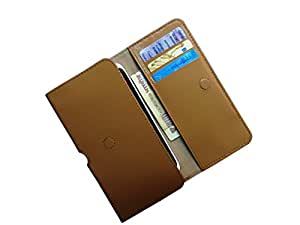 ATV PU Leather KHAKI Pouch Case Flip Cover For Lyf Flame 8