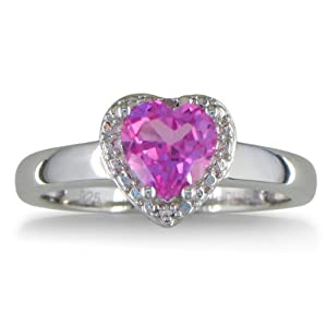 Sterling Silver Heart Shaped Created Pink Sapphire and Diamond Ring (2 cttw) from SuperJeweler