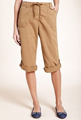 Pure Cotton Turn Up Hem Cropped Cargo Trousers [T54-6014-S]