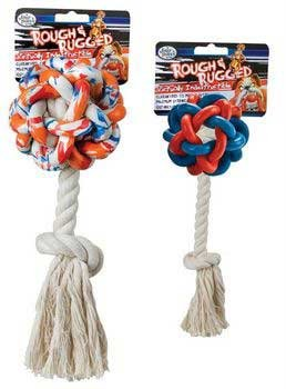 Four Paws Rough & Rugged Weaved Ball with Rope Dog Toy