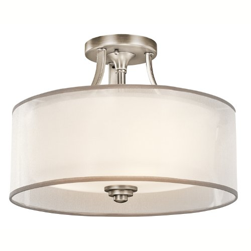 B003XMD2QG Kichler Lighting 42386AP Lacey Semi-Flush Ceiling Light, Antique Pewter with Cased Opal Inner Diffusers and White Organza Translucent Outer Shades