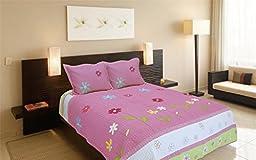 Auvoau Kids Quilt, Flowers Pattern Girls Pink White Green Quilt Set 3pc, Full