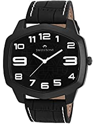 Swisstone GR109-Black Dial Black Strap Analog Wrist Watch For Men/Boys