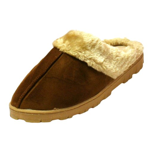 Cheap Brown Warm Fleece Lined Micro Suede Slip On Shoes (1411 ASST)