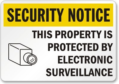 "Smartsign Aluminum Sign, Legend ""Security Notice - Electronic Surveillance"" With Graphic, 12"" High X 18"" Wide, Black/Yellow On White"