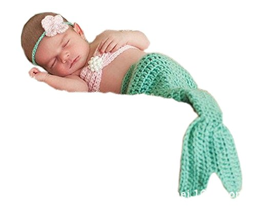 Pinbo Newborn Baby Photography Prop Crochet Mermaid Headband Bra Tail