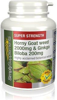 Horny Goat Weed (Epimedium) 2000mg | Ginkgo Biloba 200mg | Stimolante Naturale|60 Capsule SimplySupplements