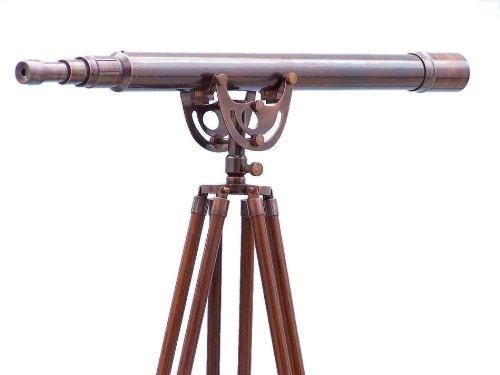 "Handcrafted Nautical Decor Floor Standing Antique Copper Anchormaster Telescope, 65"", Copper"