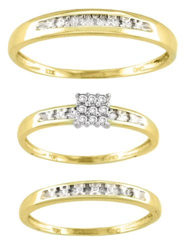 Men's Ladies 10K Yellow Gold .07CT Round Cut Diamond Wedding Engagement Bridal Trio Ring Set (ladies size 7, men size 10; message us for more sizes)