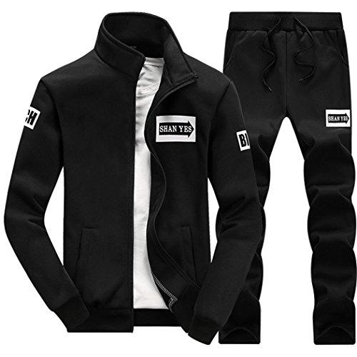 walk-leader-hombre-casual-impreso-zip-up-dos-piezas-chandal-sets-negro-negro-xs