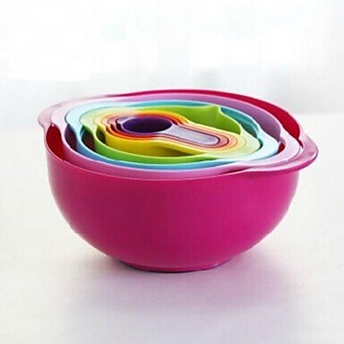 Rainbow Eight Piece Set Storage Basket Mixing Bowls Filter Drain Bowl And Spoon Plastic 12.4″*12.4″*4.9″