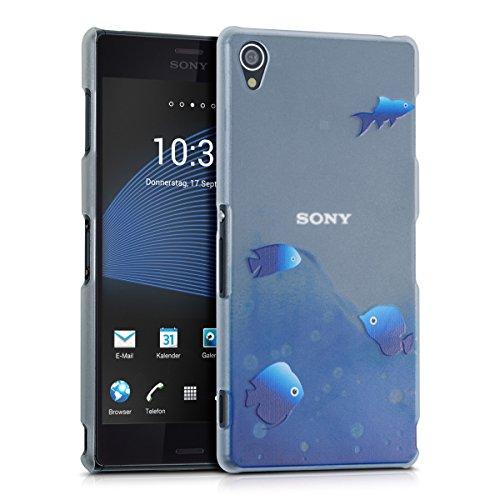 kwmobile Crystal Case Hülle für Sony Xperia Z3 mit Fische Design - transparente Schutzhülle Cover klar in Blau Matt Transparent