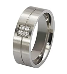 buy Beydodo Stainless Steel Rings (Wedding Bands) For Men Women Inlaid 4 Cz Width 8Mm Size 7 Silver