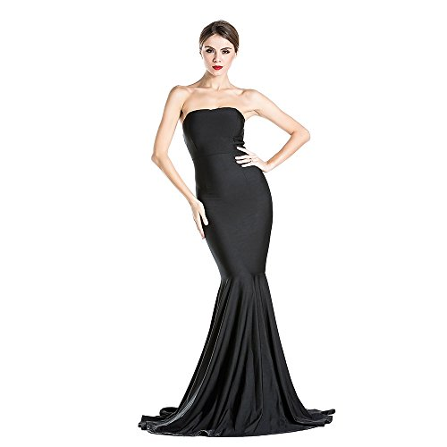 Women's Sleeveless Bra Mermaid Party Dress Medium Black