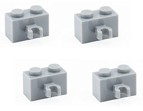 Lego Parts: Brick, Modified 1 x 2 with Vertical Clip (PACK of 4 - LBGray) - 1
