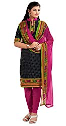 Nilkanth Enterprise Pink And Black Dress Material