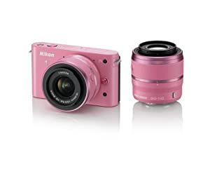 Nikon 1 J1 10.1 MP HD Digital Camera System with 10-30mm VR and 30-110mm VR 1 NIKKOR Lenses, Wrapping Cloth, Hand Strap, and Two Lens Hoods (Pink)