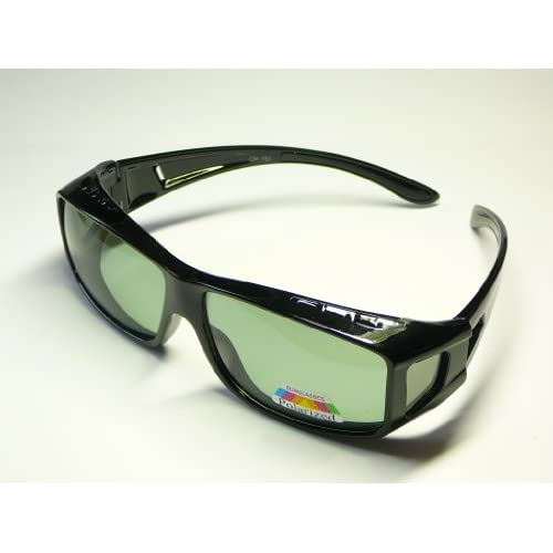 オーバーグラス 眼鏡の上からかけられる サングラス 偏光 ブラックスモーク UVカット