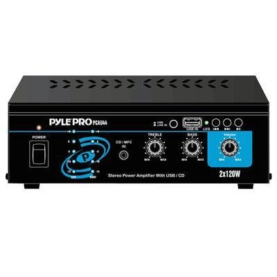 Pyle Home PCAU44 Mini 2x120 Watt Stereo Power Amplifier with USB & CD Input
