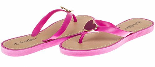 Chatties Girls Flip Flops With Heart Ornament - Fuchsia, Size 2 / 3 (More Colors and Sizes Available) Sequined Espadrille