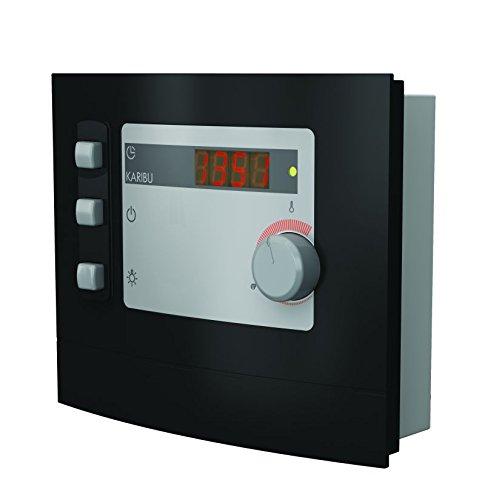 Karibu-Steuerung-Modern-fr-finnische-Saunafen-bis-9-kW-Leistung-maximal-90-kW-Anzeige-7-Segment-Anzeige-Temperaturbegrenzung-140-C-max-Heizzeit-6-Stunden-elektrischer-Anschluss-400-V-Vorwahluhr-2375-h