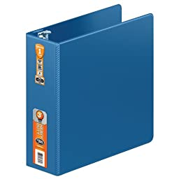 Wilson Jones Heavy Duty Round Ring Binder with Extra Durable Hinge, 3-Inch, PC Blue (W364-49-7462)