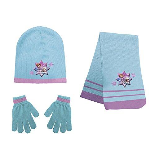WD17547 Completo inverno sciarpa cappello e guanti DISNEY FROZEN taglia unica. MEDIA WAVE store ®