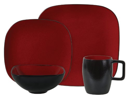 Gibson Denova 16 Piece Square Reactive Glaze Stoneware Dinnerware Set Red Black