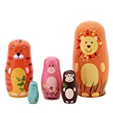 5pcs Nesting Doll Handmade Wooden Cute Cartoon Animals Pattern 6""