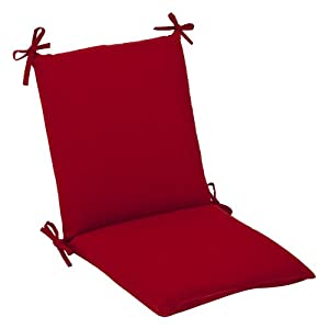 Pillow Perfect Indoor/Outdoor Red Solid Chair Cushion Squared by Pillow Perfect
