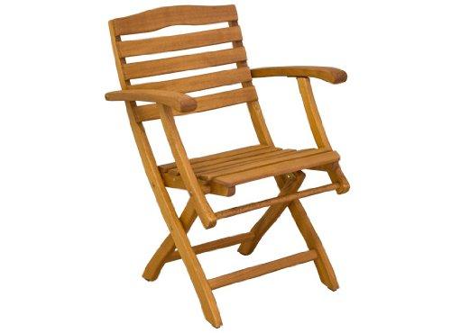 Gartenstuhl Mainau - Klassiker Niedriglehner aus Holz - braun lackiert - Qualität aus Deutschland