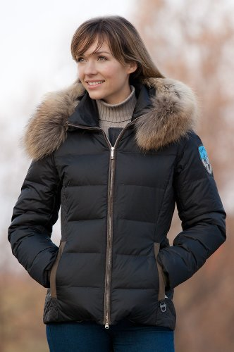 Women's M. Miller Gretchen Quilted Down Jacket with Raccoon Fur Trim, BLACK, Size SMALL (6-8)
