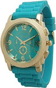 Large Unisex Geneva Chronograph Style Silicone Watch - Teal/Gold