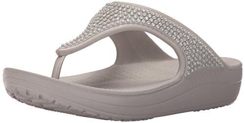 [クロックス] CROCS crocs sloane diamante flip w クロックス スローン ディアマンテ フリップ ウィメン ビーチサンダル 203128 018 (Platinum/W9)
