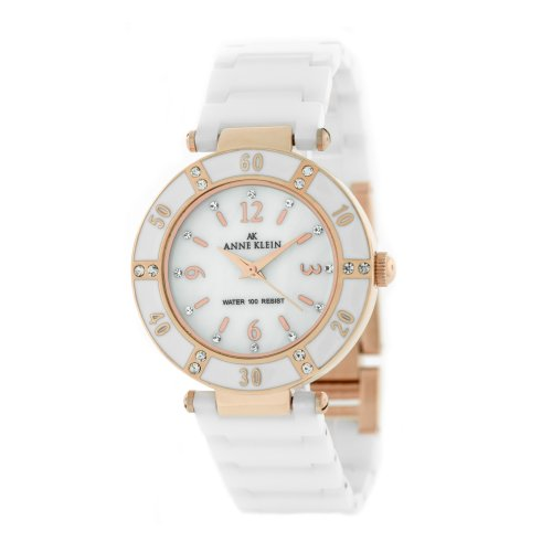 AK Anne Klein Women's 109416RGWT Swarovski Crystal Accented Rosegold-Tone White Ceramic Watch